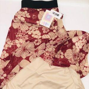 LuLaRoe Skirts - LulaRoe #Lace #Lola Tan Burgundy Skirt Size L